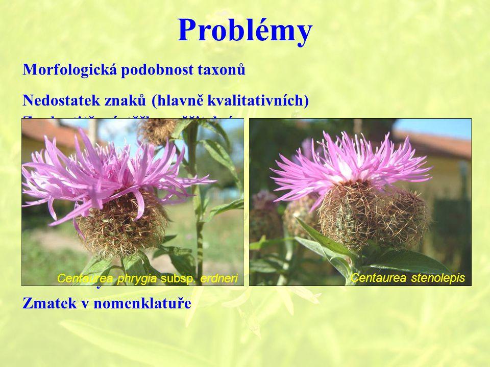 Problémy Morfologická podobnost taxonů
