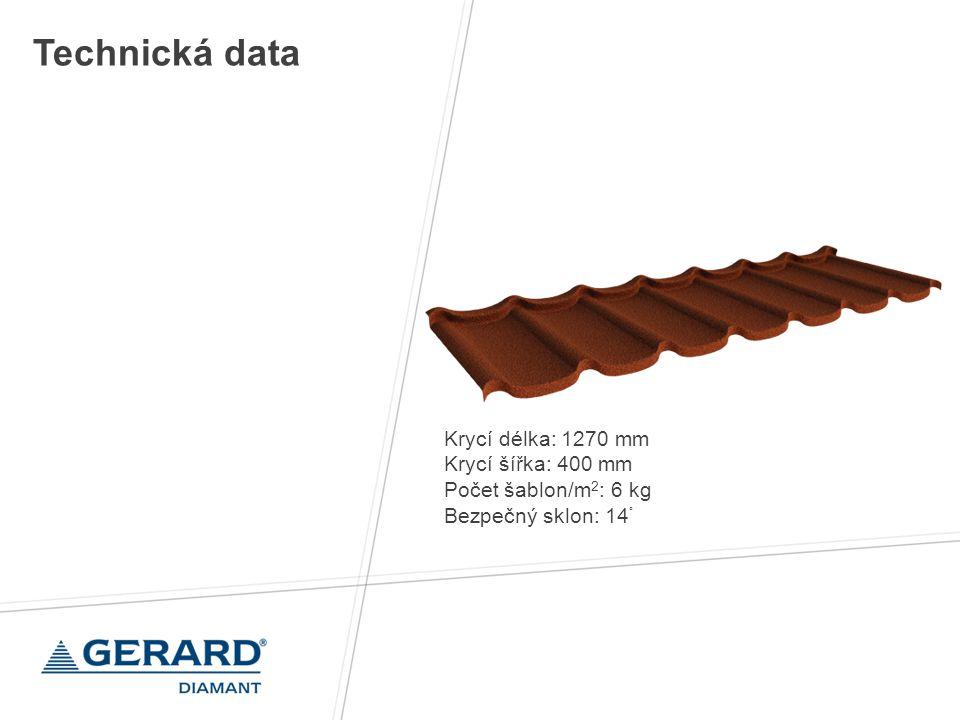 Technická data Krycí délka: 1270 mm Krycí šířka: 400 mm
