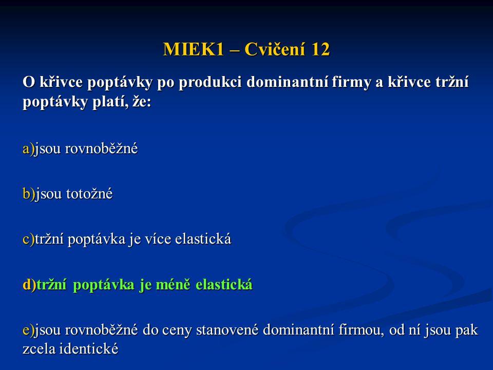 MIEK1 – Cvičení 12 O křivce poptávky po produkci dominantní firmy a křivce tržní poptávky platí, že: