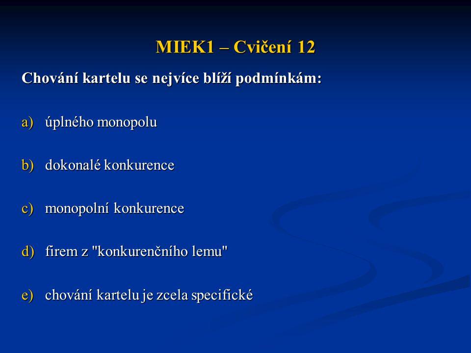 MIEK1 – Cvičení 12 Chování kartelu se nejvíce blíží podmínkám: