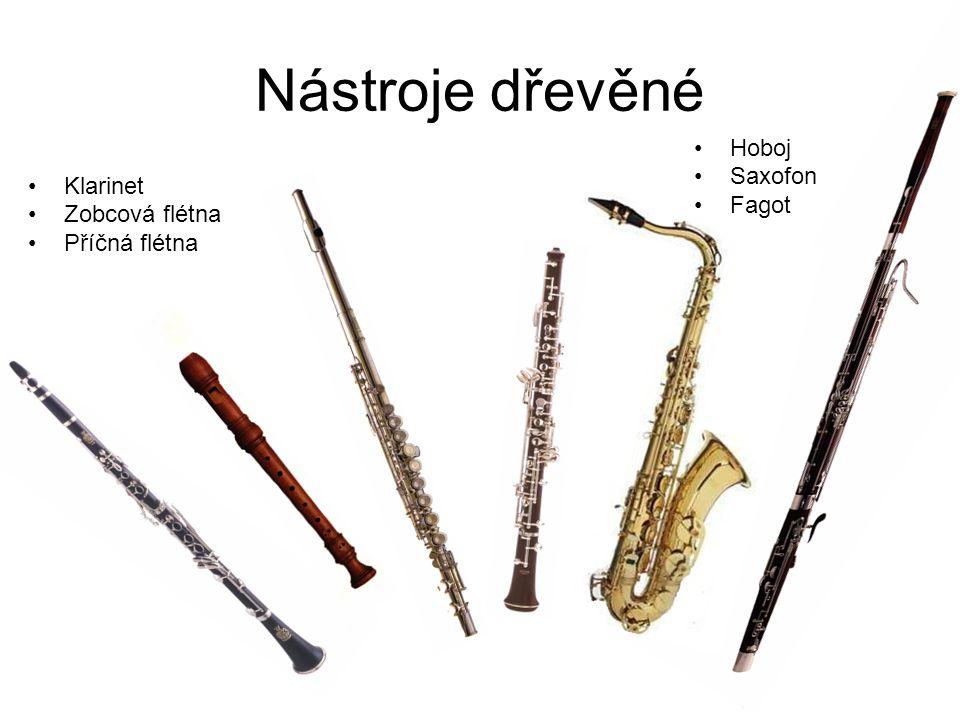 Nástroje dřevěné Hoboj Saxofon Fagot Klarinet Zobcová flétna