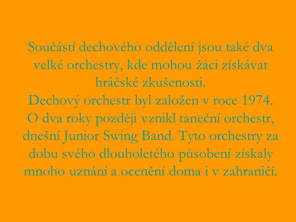 Součástí dechového oddělení jsou také dva velké orchestry, kde mohou žáci získávat hráčské zkušenosti.