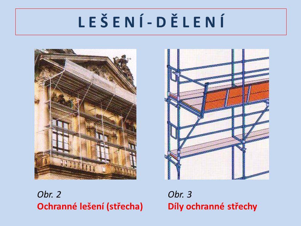 L E Š E N Í - D Ě L E N Í Obr. 2 Ochranné lešení (střecha) Obr. 3