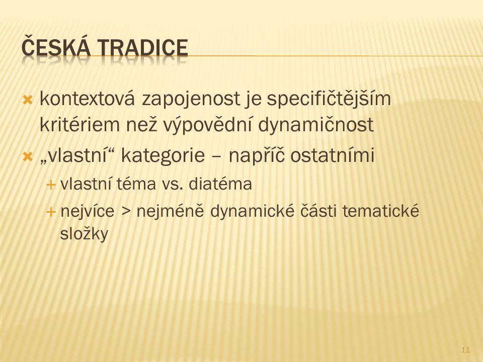 """Česká tradice kontextová zapojenost je specifičtějším kritériem než výpovědní dynamičnost. """"vlastní kategorie – napříč ostatními."""