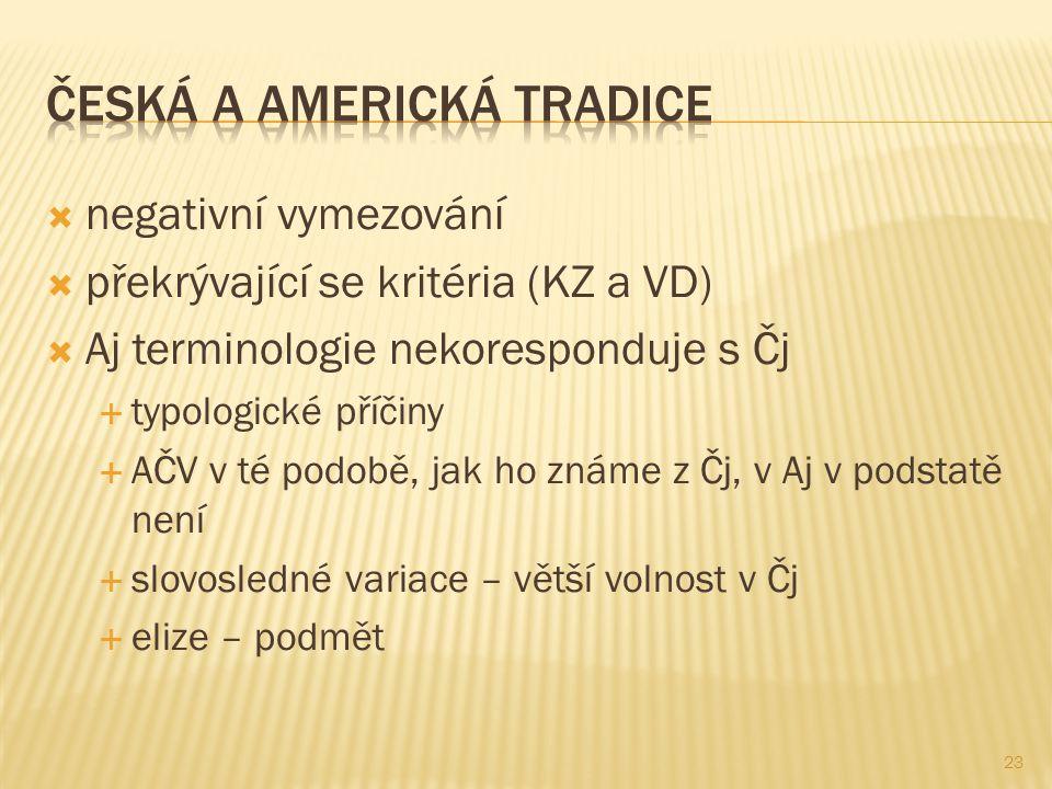 ČESKÁ A AMERICKÁ tradice
