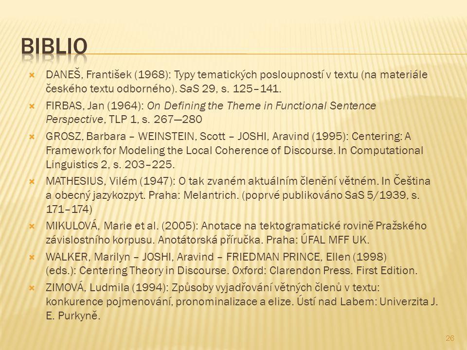 Biblio DANEŠ, František (1968): Typy tematických posloupností v textu (na materiále českého textu odborného). SaS 29, s. 125–141.