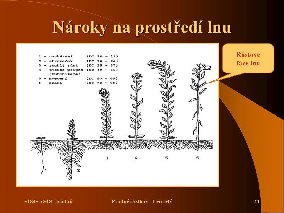 Nároky na prostředí lnu Přadné rostliny - Len setý