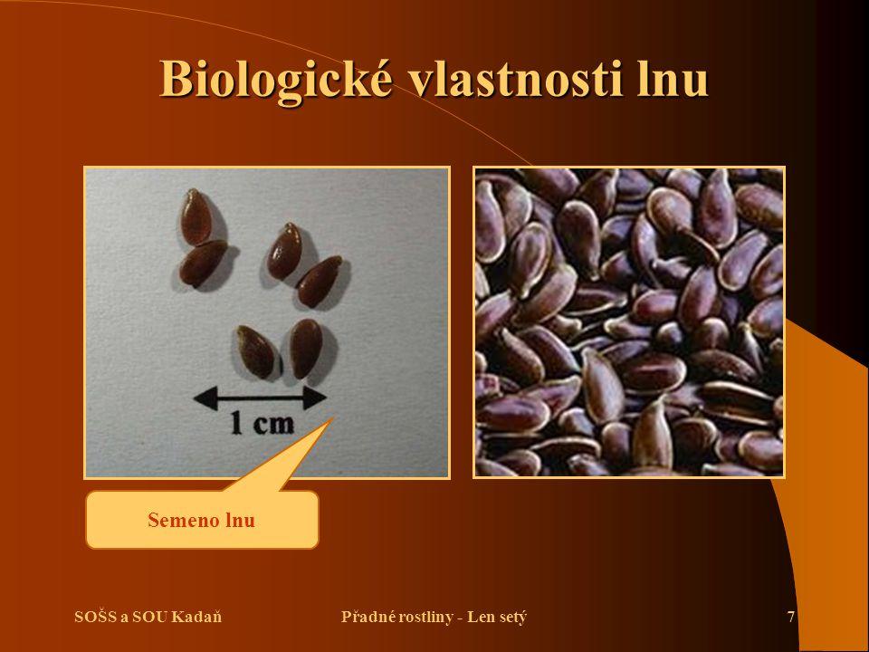 Biologické vlastnosti lnu Přadné rostliny - Len setý