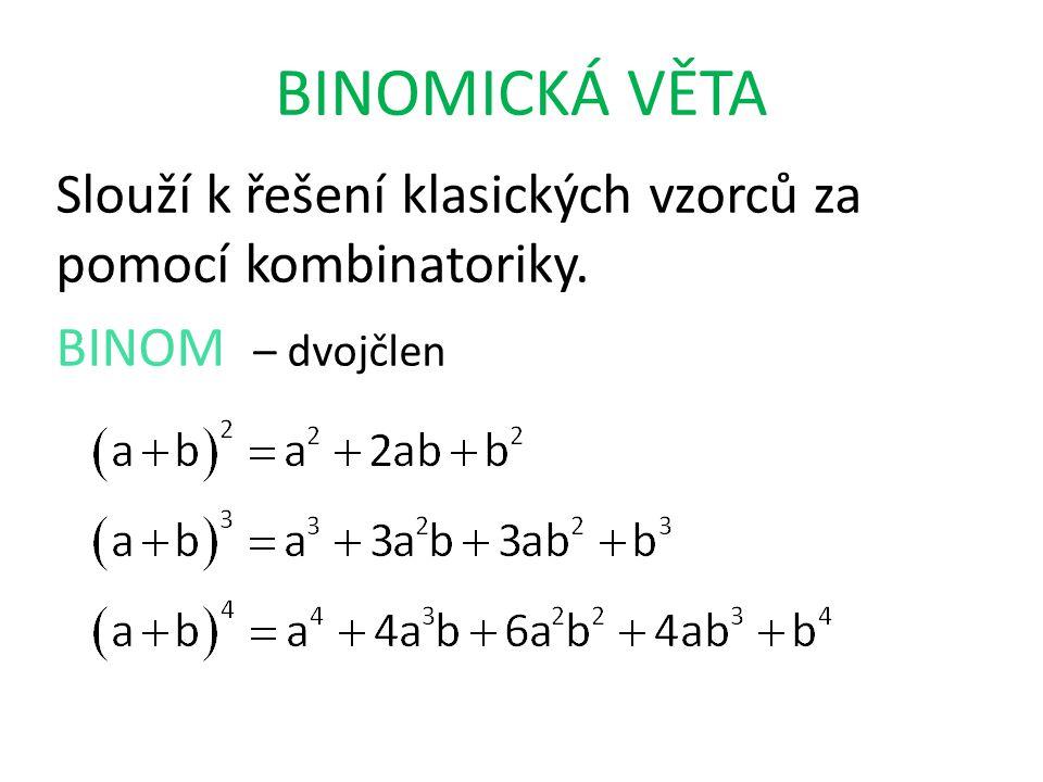 BINOMICKÁ VĚTA Slouží k řešení klasických vzorců za pomocí kombinatoriky. BINOM – dvojčlen