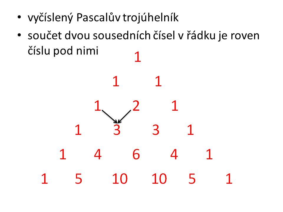 vyčíslený Pascalův trojúhelník