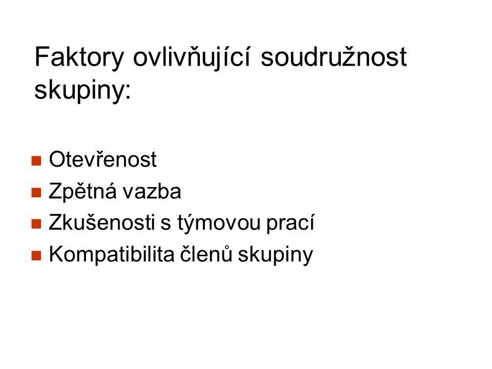 Faktory ovlivňující soudružnost skupiny: