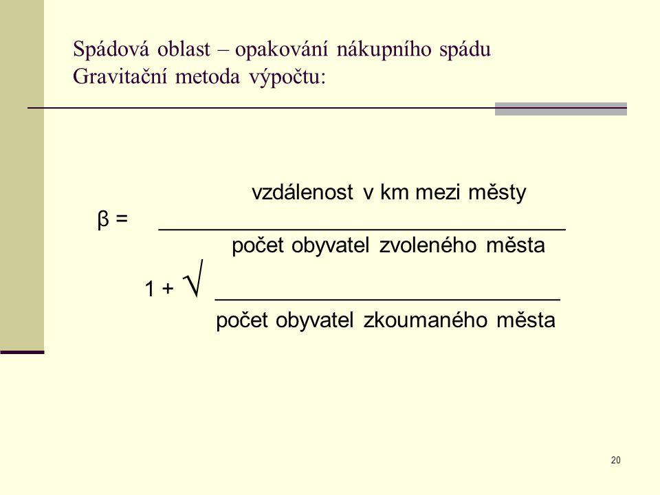 Spádová oblast – opakování nákupního spádu Gravitační metoda výpočtu: