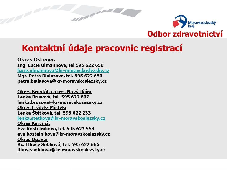 Kontaktní údaje pracovnic registrací