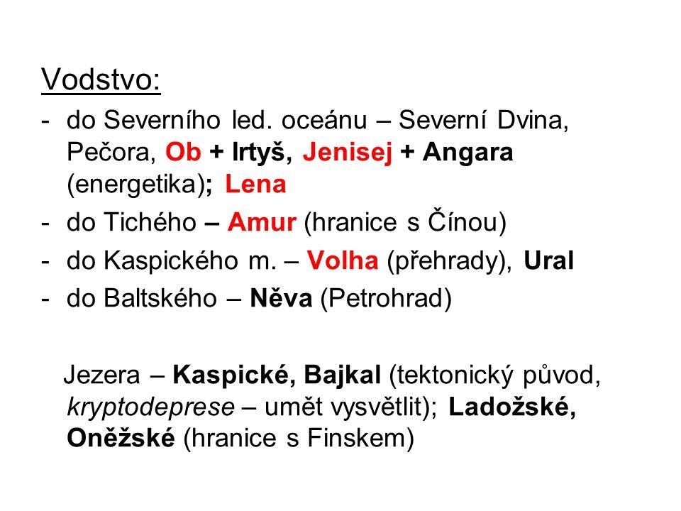 Vodstvo: do Severního led. oceánu – Severní Dvina, Pečora, Ob + Irtyš, Jenisej + Angara (energetika); Lena.