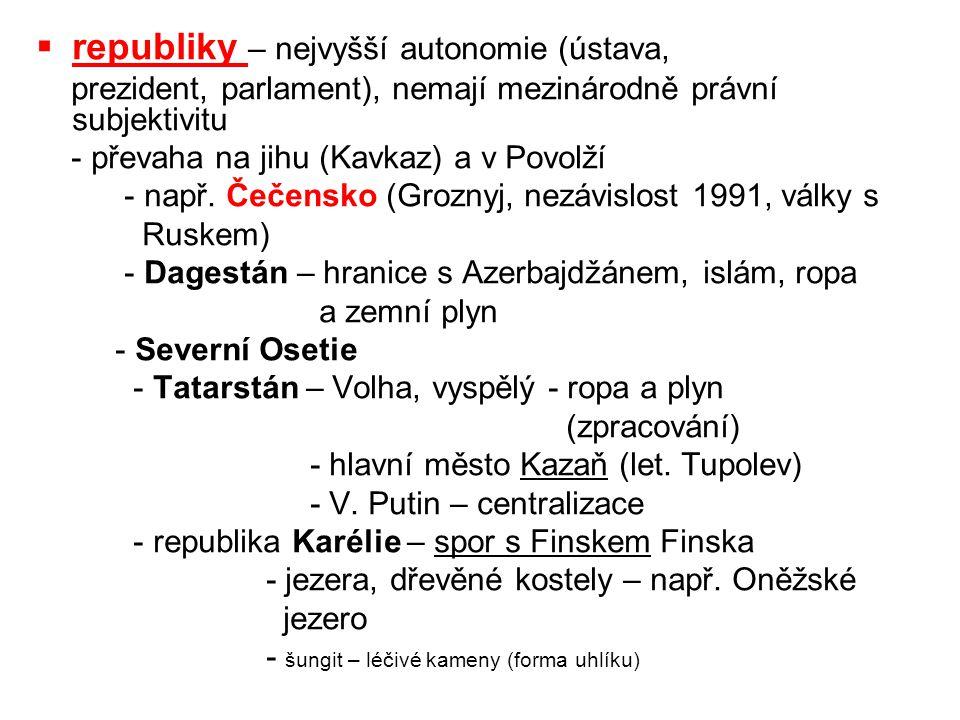 republiky – nejvyšší autonomie (ústava,