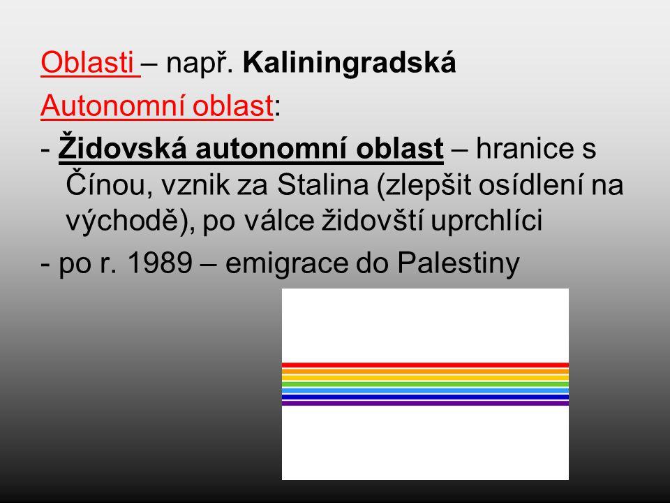 Oblasti – např. Kaliningradská