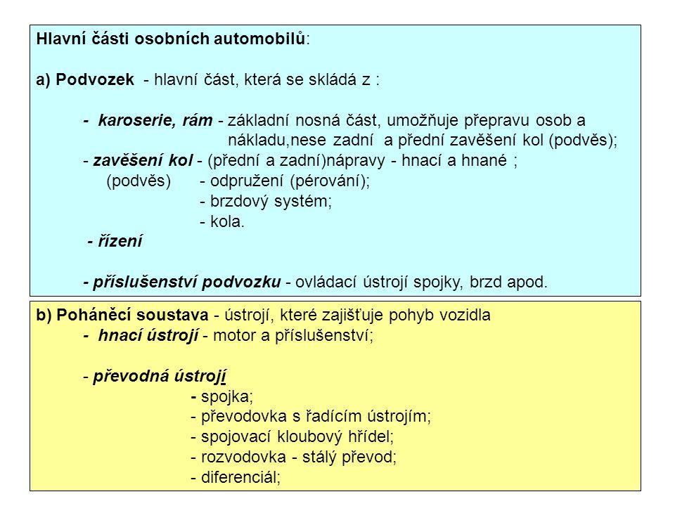 Hlavní části osobních automobilů: