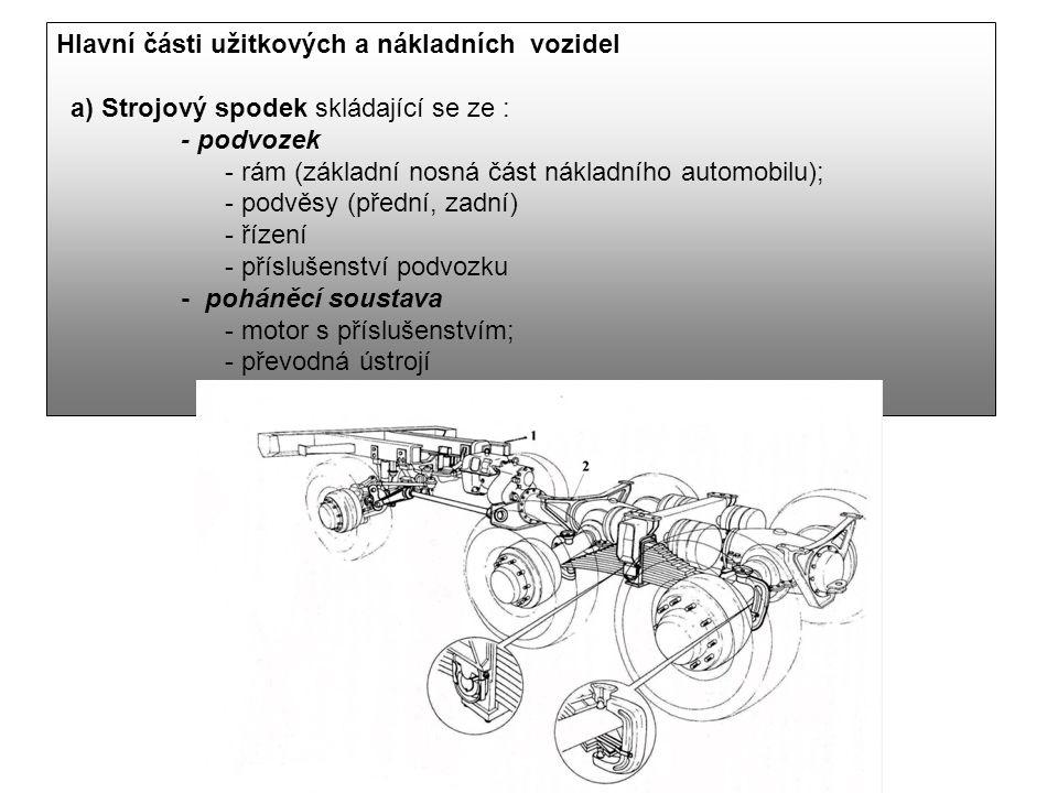 Hlavní části užitkových a nákladních vozidel