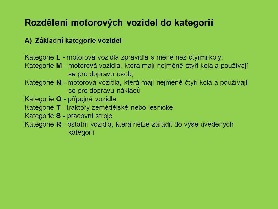 Rozdělení motorových vozidel do kategorií