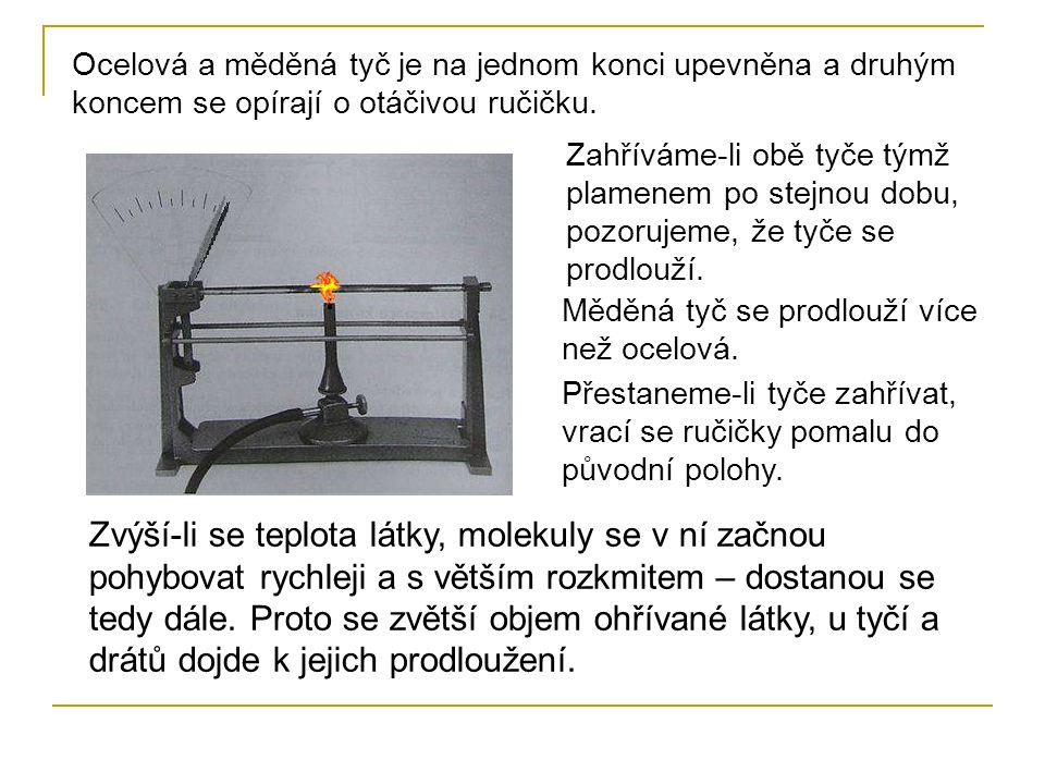 Ocelová a měděná tyč je na jednom konci upevněna a druhým koncem se opírají o otáčivou ručičku.