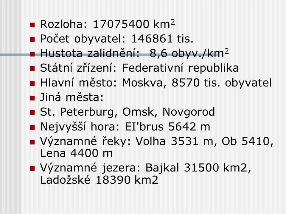Rozloha: 17075400 km2 Počet obyvatel: 146861 tis. Hustota zalidnění: 8,6 obyv./km2. Státní zřízení: Federativní republika.