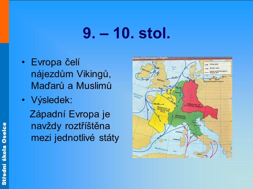 9. – 10. stol. Evropa čelí nájezdům Vikingů, Maďarů a Muslimů