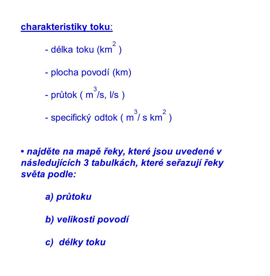 charakteristiky toku:
