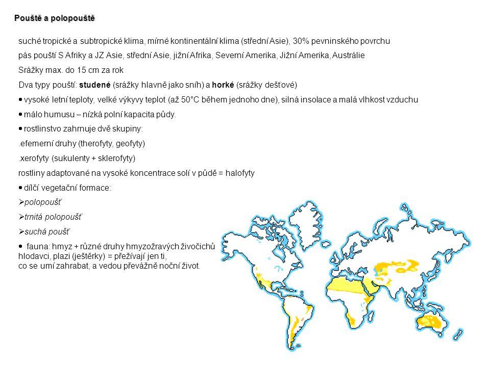 Pouště a polopouště suché tropické a subtropické klima, mírné kontinentální klima (střední Asie), 30% pevninského povrchu.
