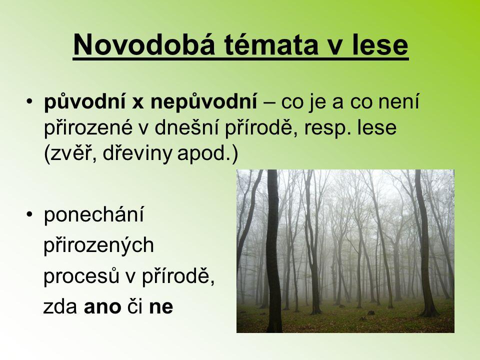 Novodobá témata v lese původní x nepůvodní – co je a co není přirozené v dnešní přírodě, resp. lese (zvěř, dřeviny apod.)