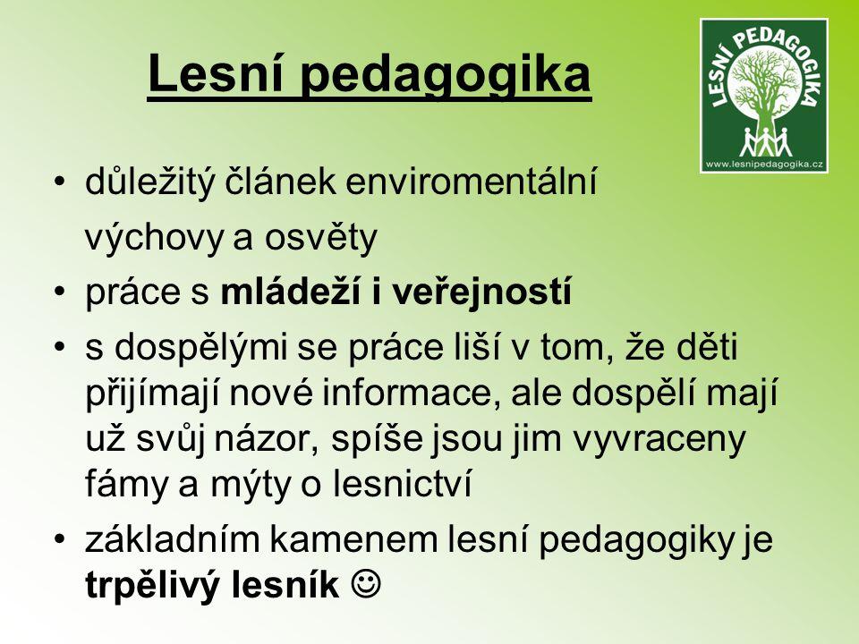 Lesní pedagogika důležitý článek enviromentální výchovy a osvěty