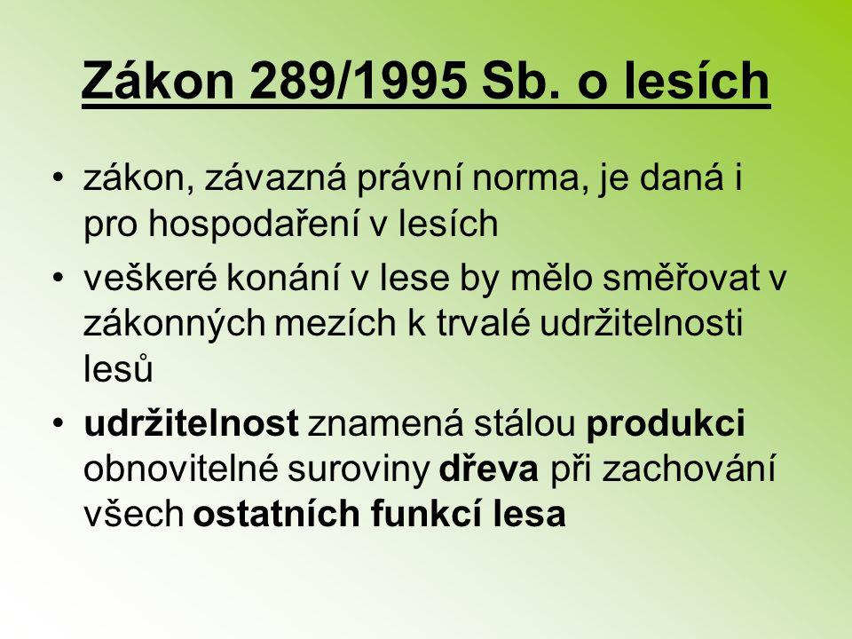 Zákon 289/1995 Sb. o lesích zákon, závazná právní norma, je daná i pro hospodaření v lesích.