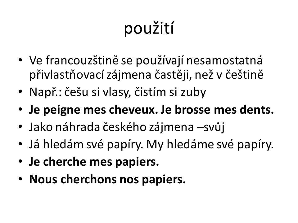 použití Ve francouzštině se používají nesamostatná přivlastňovací zájmena častěji, než v češtině. Např.: češu si vlasy, čistím si zuby.