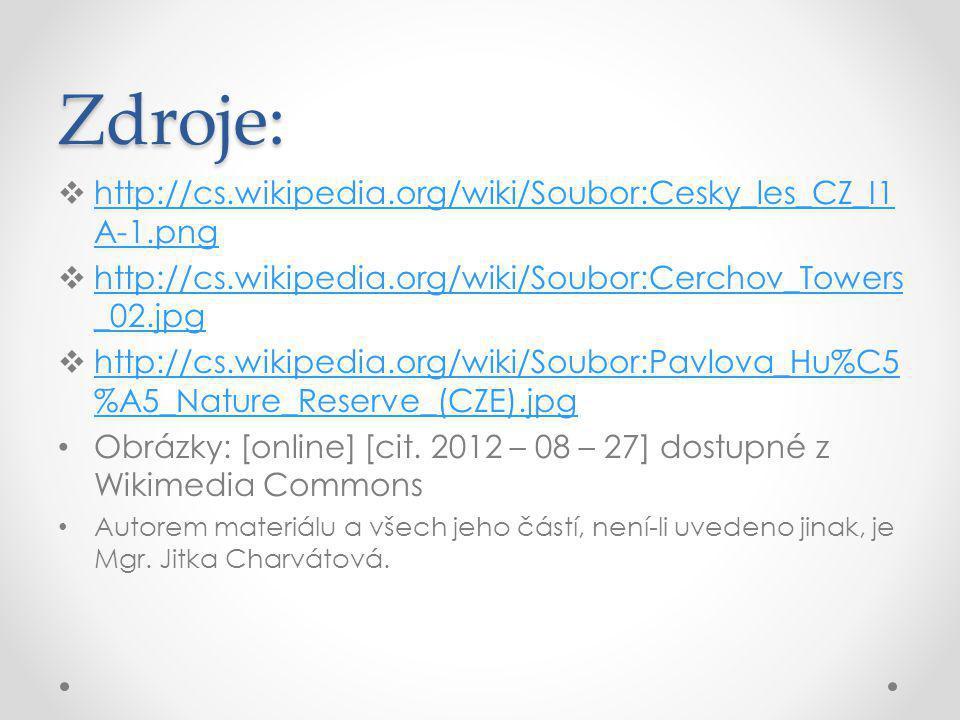 Zdroje: http://cs.wikipedia.org/wiki/Soubor:Cesky_les_CZ_I1A-1.png
