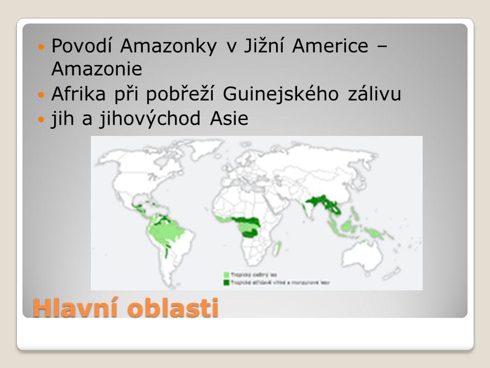 Hlavní oblasti Povodí Amazonky v Jižní Americe – Amazonie