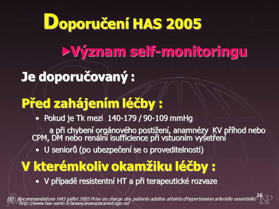 Doporučení HAS 2005 Význam self-monitoringu Je doporučovaný :
