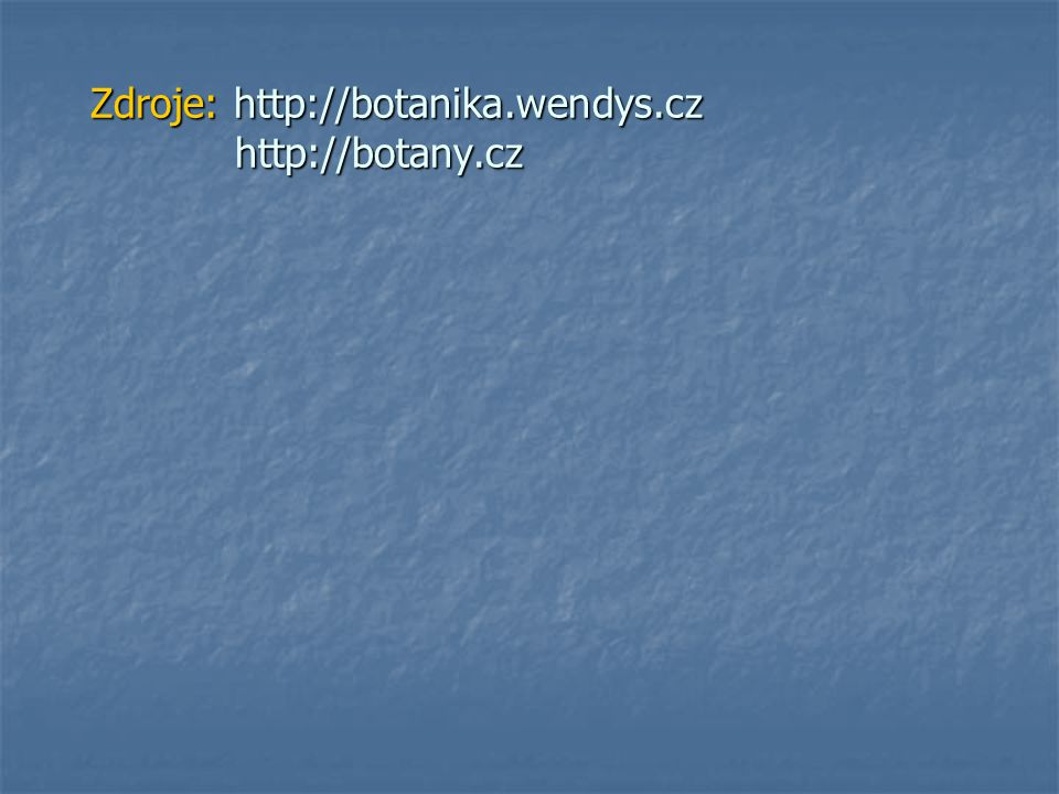 Zdroje: http://botanika.wendys.cz http://botany.cz