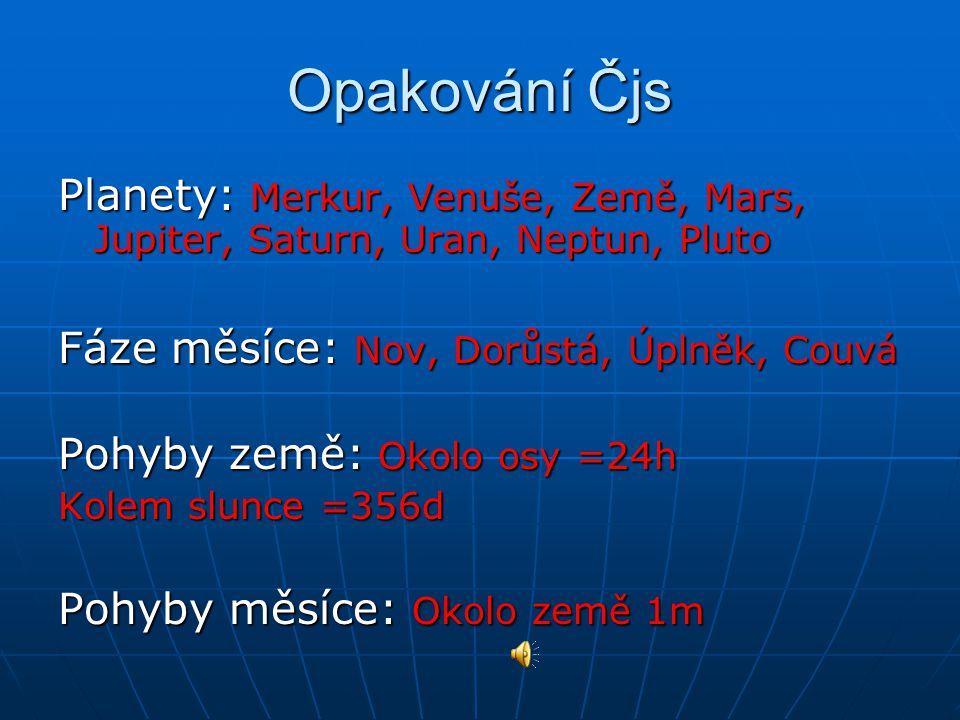 Opakování Čjs Planety: Merkur, Venuše, Země, Mars, Jupiter, Saturn, Uran, Neptun, Pluto. Fáze měsíce: Nov, Dorůstá, Úplněk, Couvá.