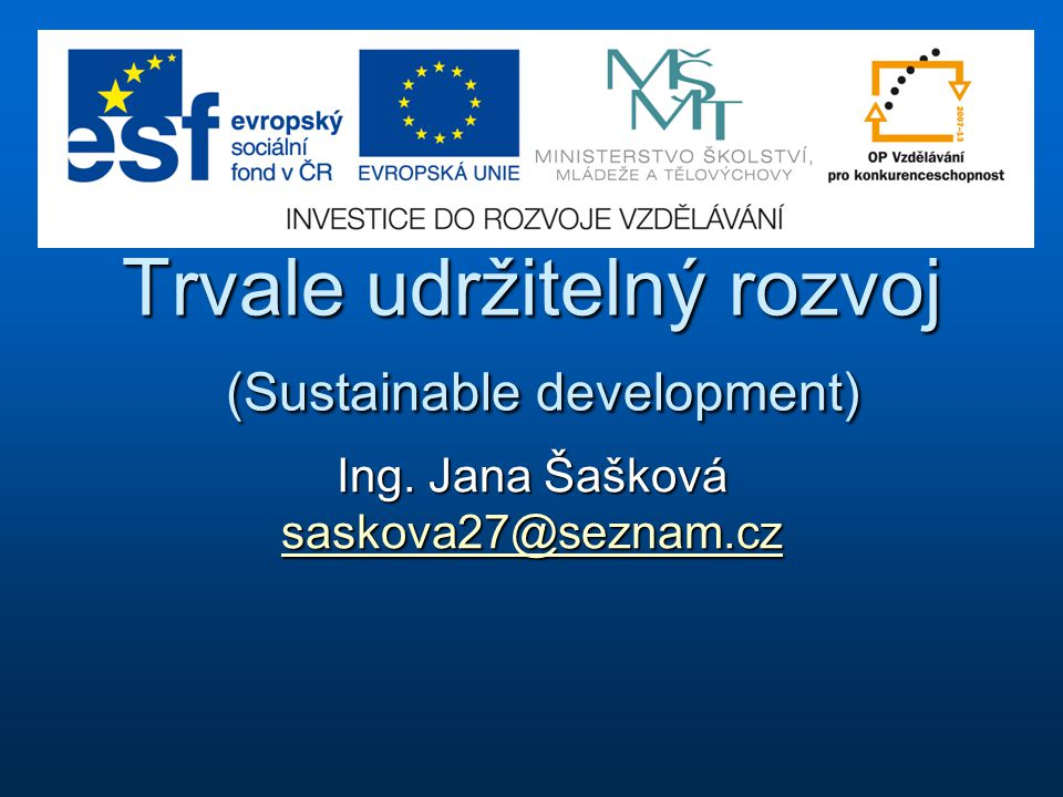 Trvale udržitelný rozvoj (Sustainable development)