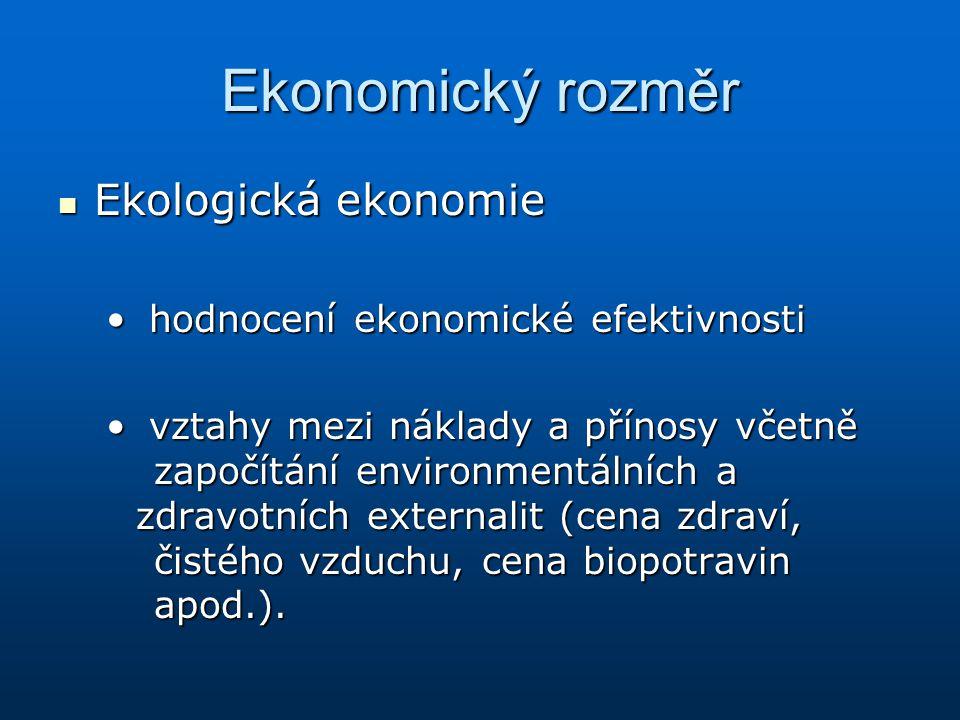 Ekonomický rozměr Ekologická ekonomie