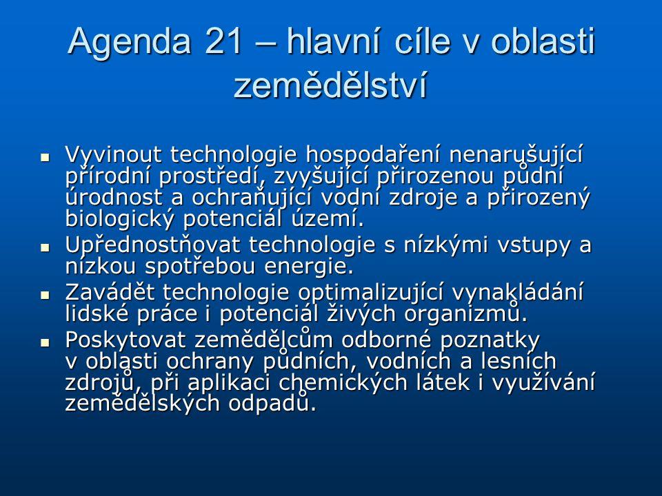 Agenda 21 – hlavní cíle v oblasti zemědělství