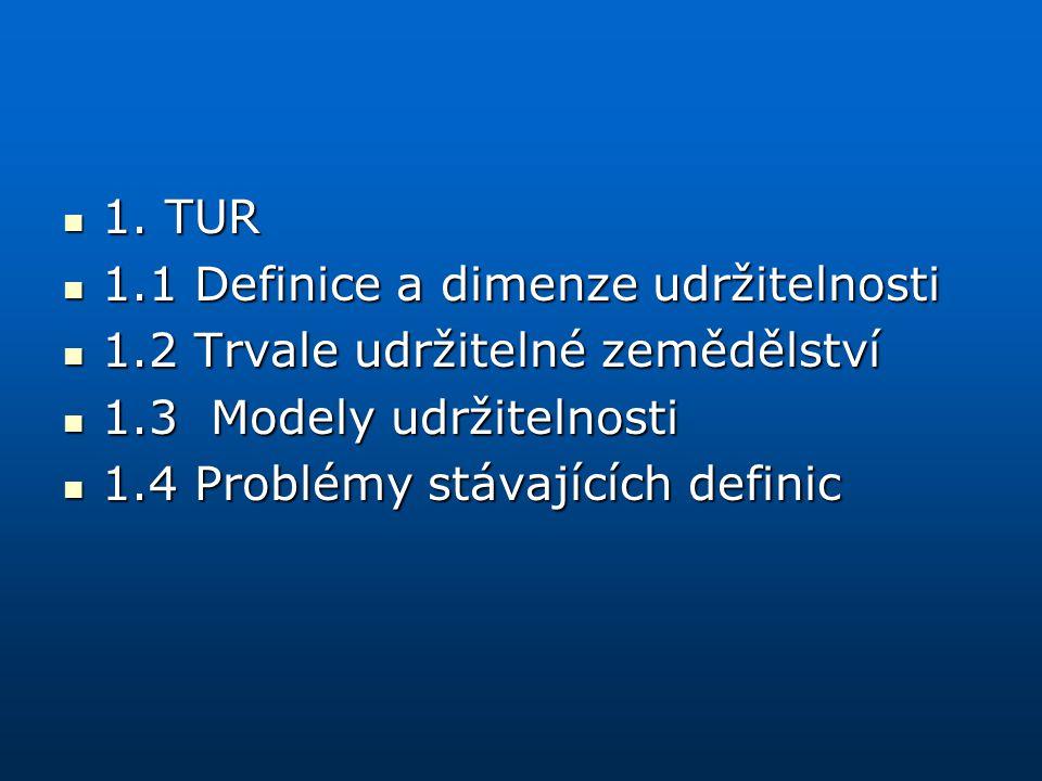 1. TUR 1.1 Definice a dimenze udržitelnosti. 1.2 Trvale udržitelné zemědělství. 1.3 Modely udržitelnosti.