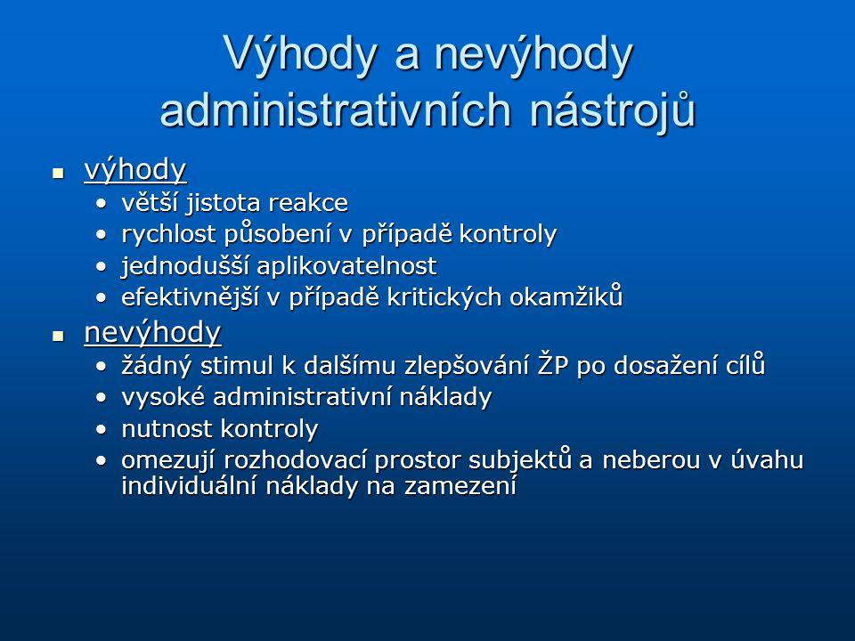 Výhody a nevýhody administrativních nástrojů