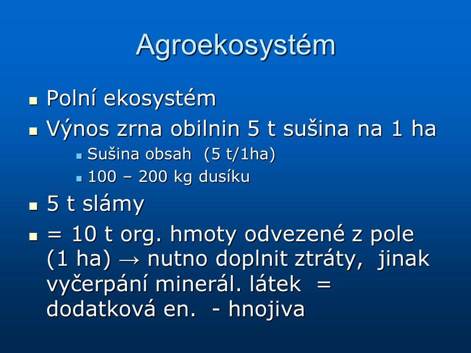 Agroekosystém Polní ekosystém Výnos zrna obilnin 5 t sušina na 1 ha