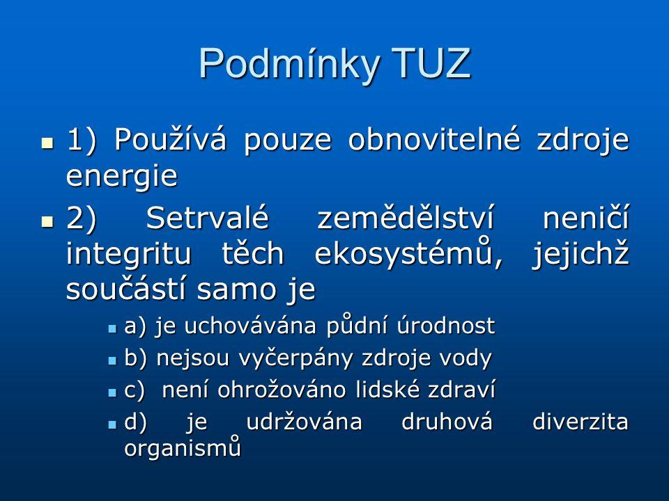 Podmínky TUZ 1) Používá pouze obnovitelné zdroje energie