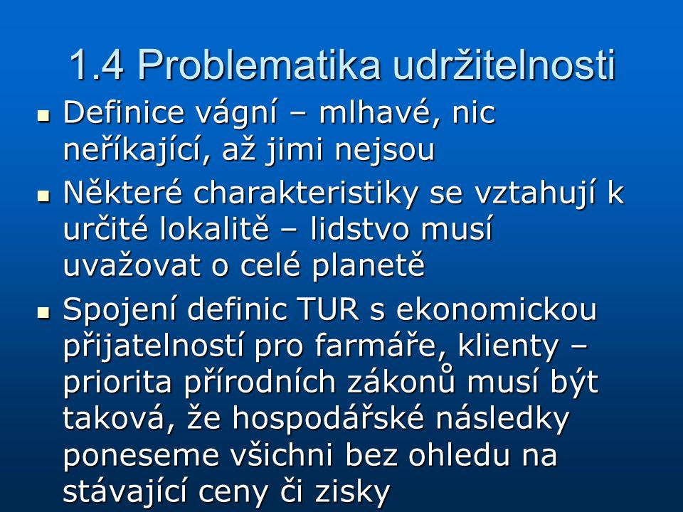 1.4 Problematika udržitelnosti