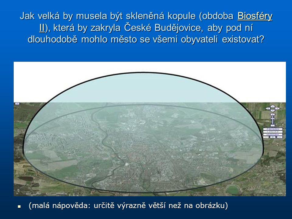 Jak velká by musela být skleněná kopule (obdoba Biosféry II), která by zakryla České Budějovice, aby pod ní dlouhodobě mohlo město se všemi obyvateli existovat