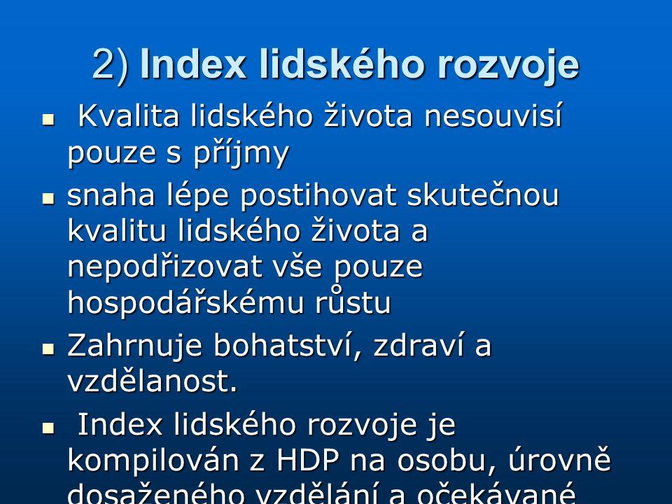 2) Index lidského rozvoje
