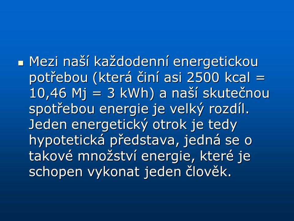 Mezi naší každodenní energetickou potřebou (která činí asi 2500 kcal = 10,46 Mj = 3 kWh) a naší skutečnou spotřebou energie je velký rozdíl.