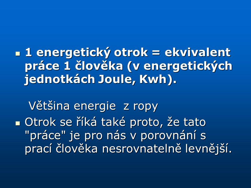 1 energetický otrok = ekvivalent práce 1 člověka (v energetických jednotkách Joule, Kwh). Většina energie z ropy