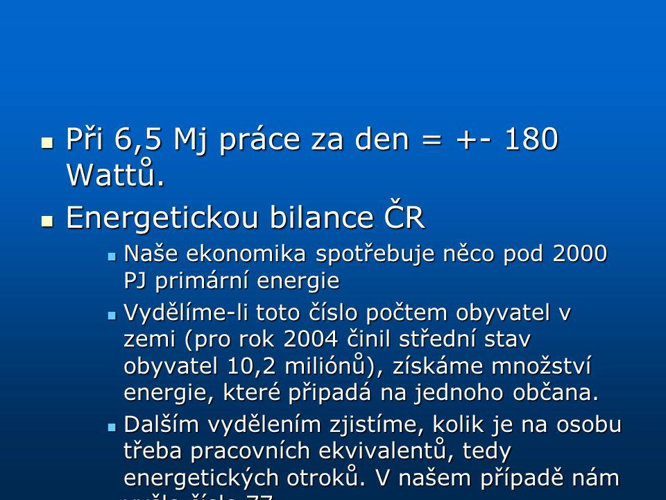 Při 6,5 Mj práce za den = +- 180 Wattů. Energetickou bilance ČR